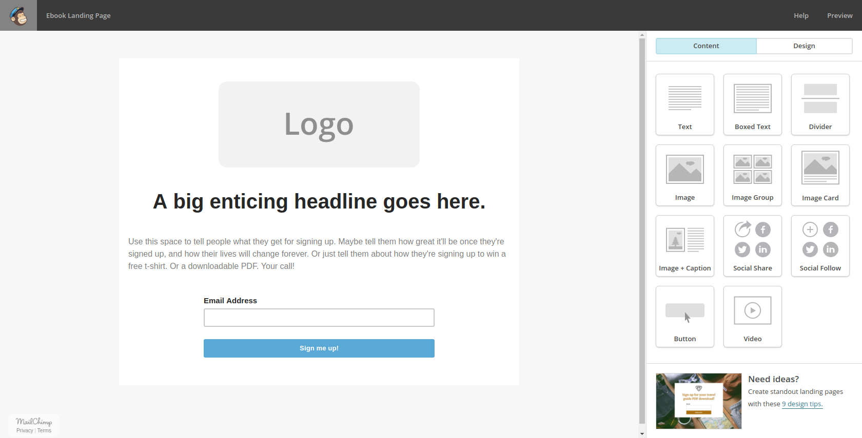 Mailchimp Landing Page Builder Template