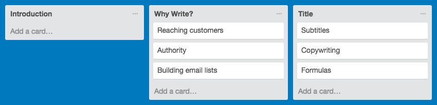 Outlining in Trello