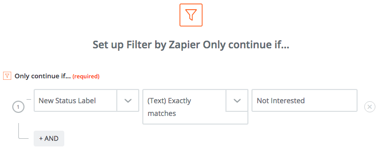 Zapier filter for lost deals