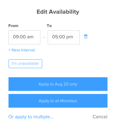 Edit availability for scheduling